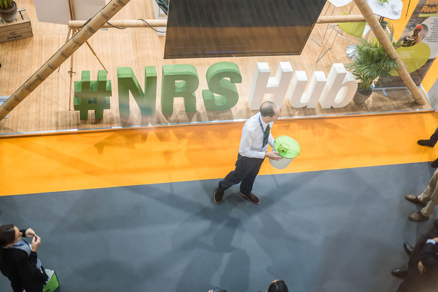 front Ariel view of NRS Relief at AidEx event 2016 Brussels Expo