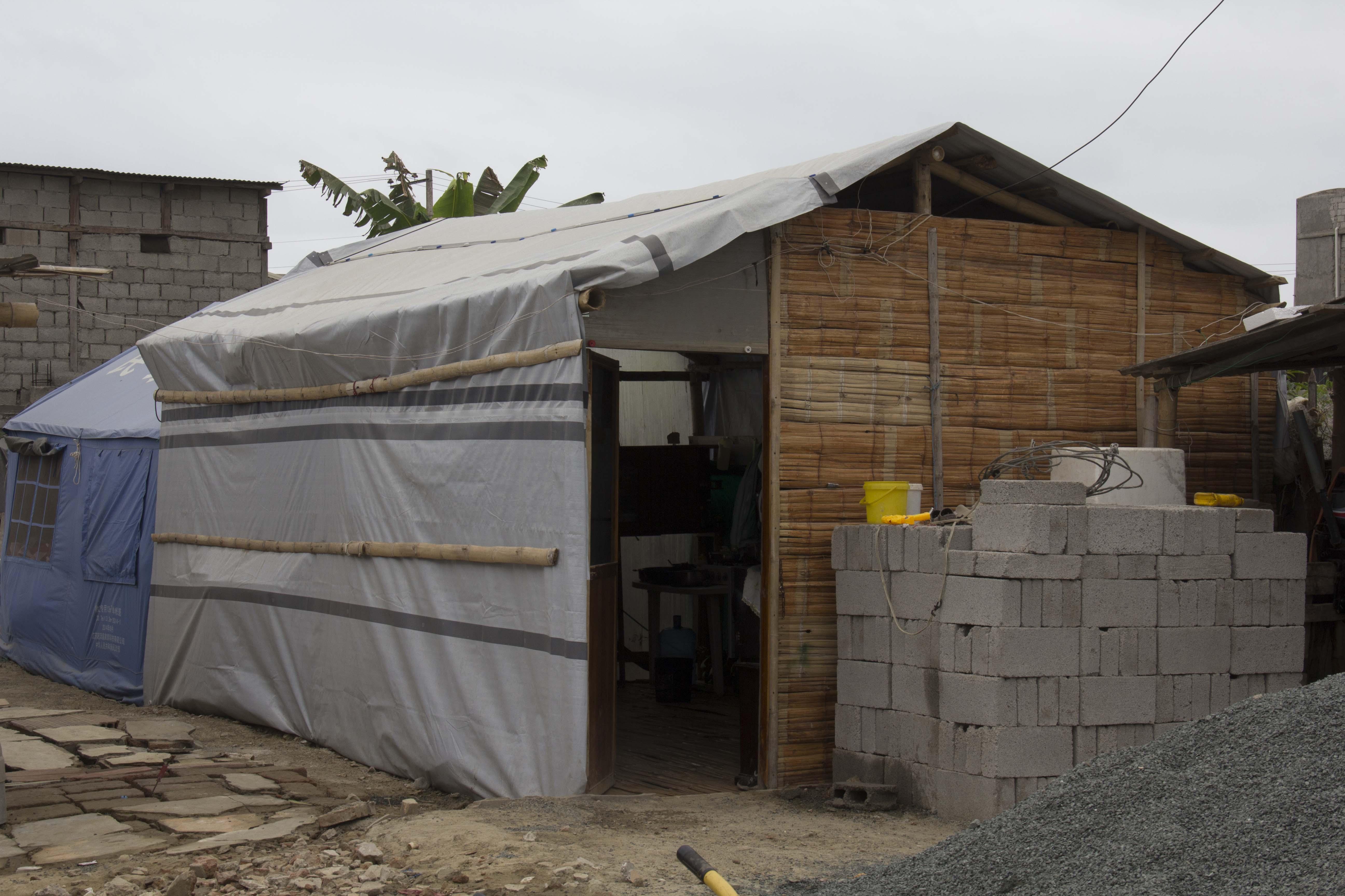 front door of refugee tent at Ecuador in 2016