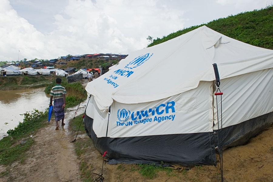front left door Rohingya refugee tent at Kutupalong camp Bangladesh