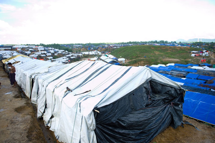 front left view of Rohingya refugee tents in Kutupalong Bangladesh
