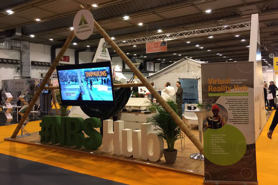 front right corner view of NRS Relief booth at AidEx event 2016 Brussels Expo