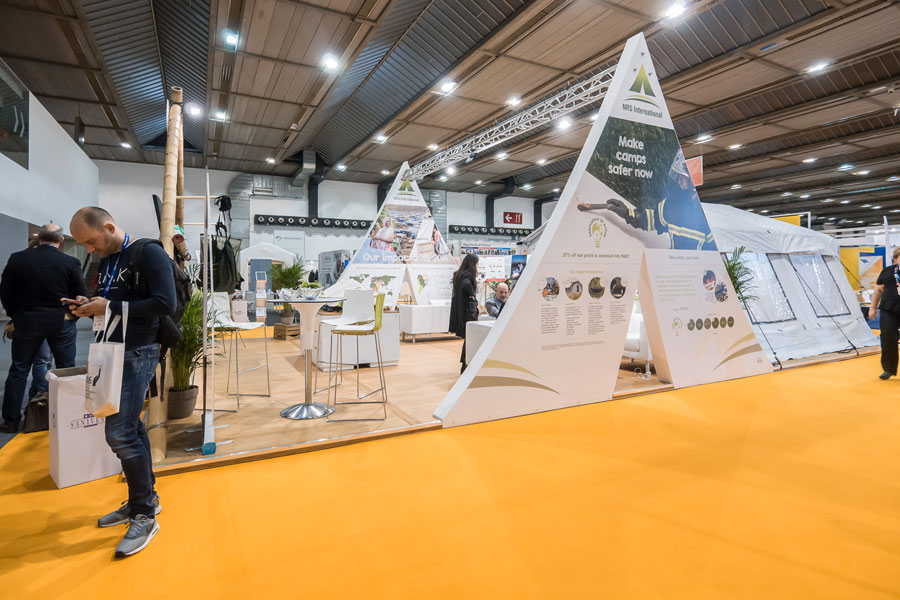 front right view of NRS Relief booth at AidEx event 2016 Brussels Expo