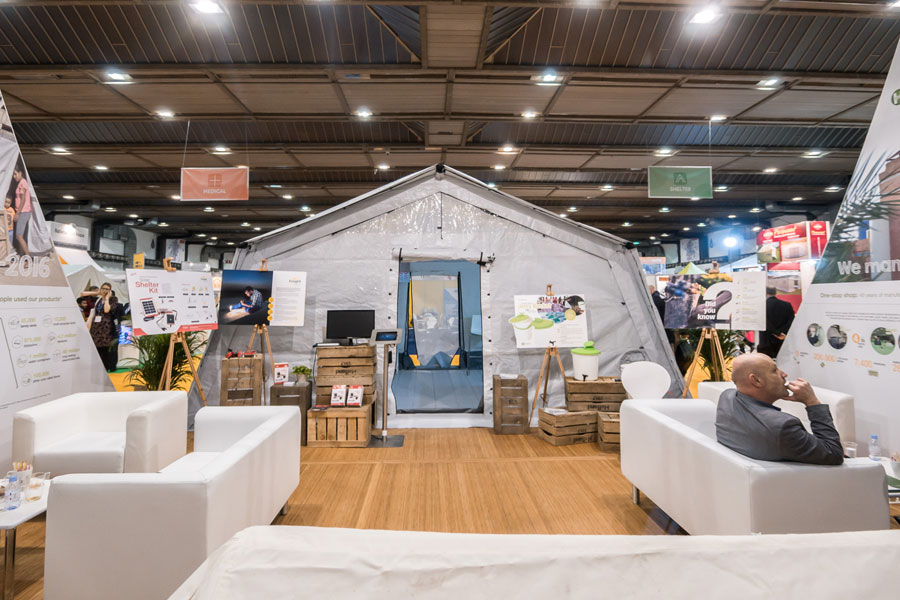 front view of NRS Relief booth at AidEx event 2016 Brussels Expo