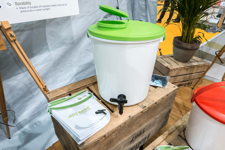Green Jerry Bucket at AidEx event 2016 Brussels Expo