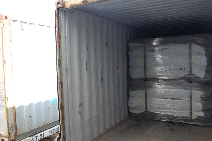 inner view of NRS Relief logistics Dubai warehouse 2016