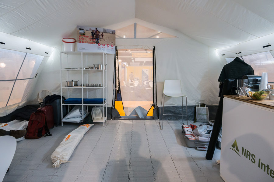 Inside view of tent on NRS Relief booth at AidEx event 2016 Brussels Expo