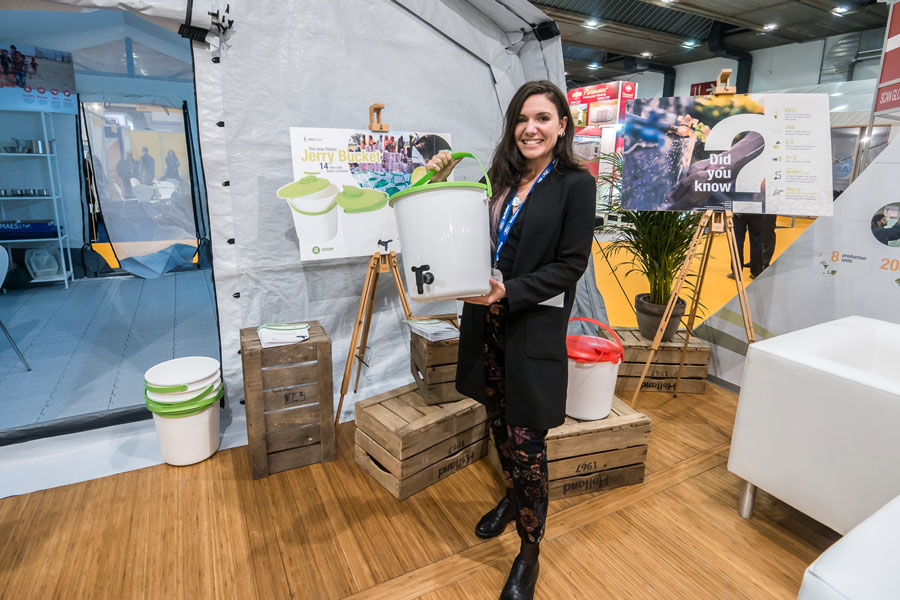 Jerry Buckets in NRS Relief booth at AidEx event 2016 Brussels Expo