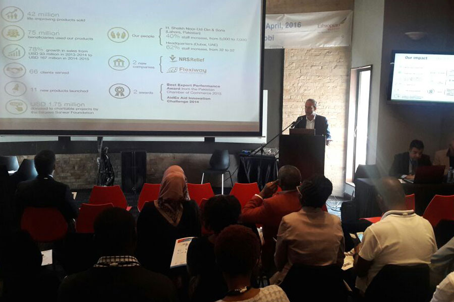 NRS International explaining their products at Humanitarian Summit Kenya 2016