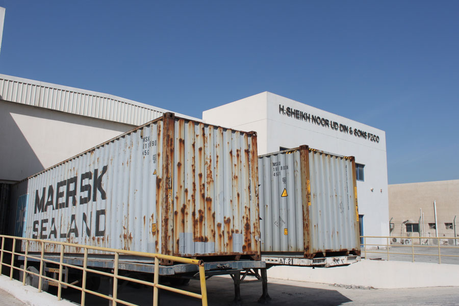 NRS Relief Logistics containers in Dubai warehouse 2016