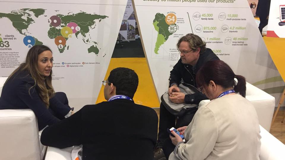 NRS Relief team speaking with people at AidEx event 2016 Brussels Expo