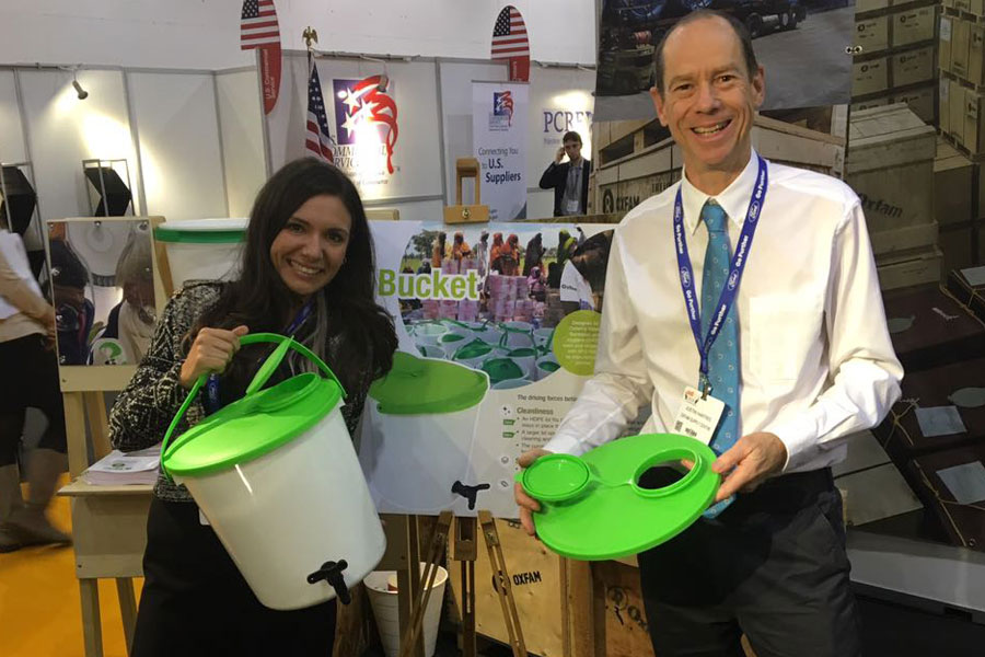 NRS team showcase Jerry Buckets at AidEx event 2016 Brussels Expo