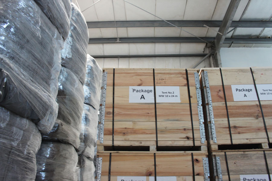 packages of woods at NRS Relief logistics in Dubai warehouse 2016