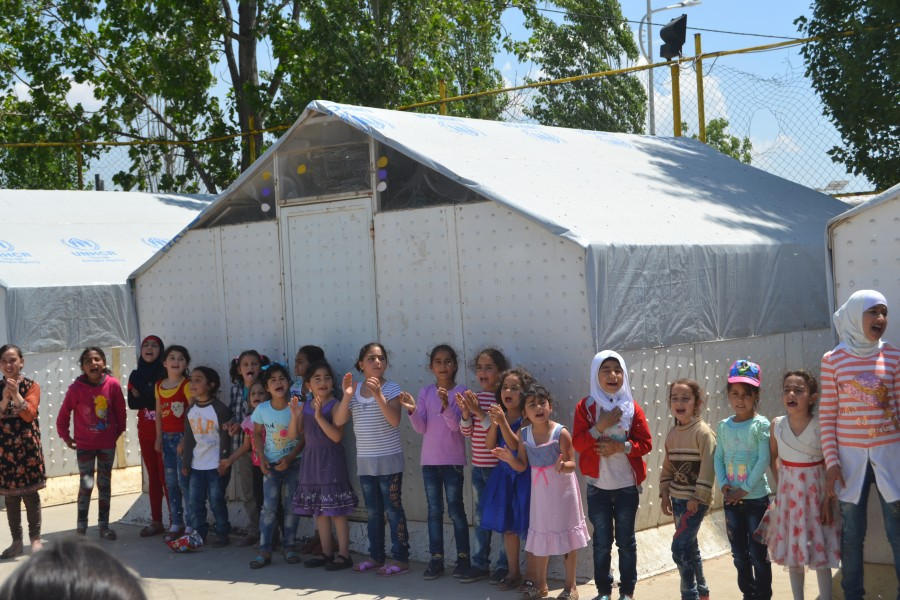 refugee girls standing together at Lebanon in 2017