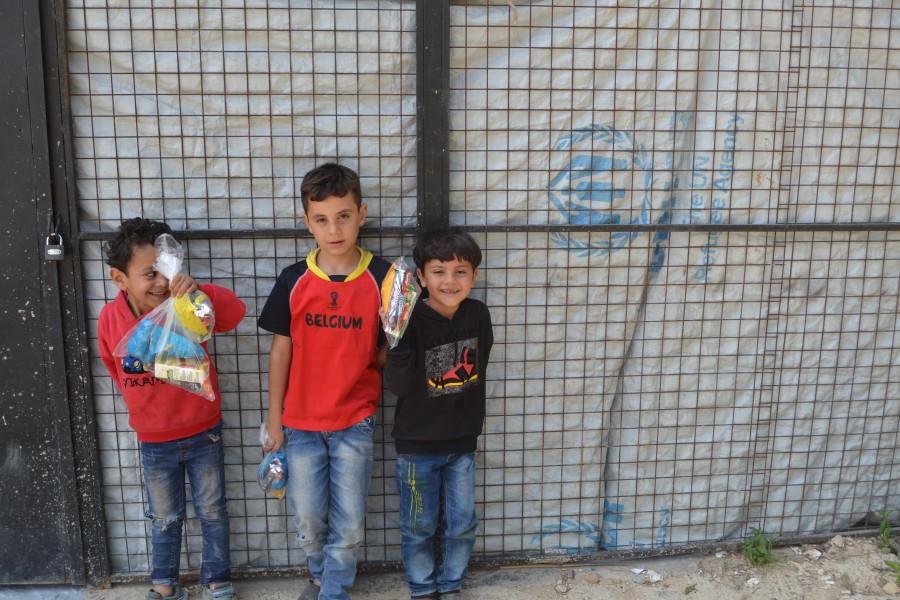 refugee kids smiling at Lebanon 2017