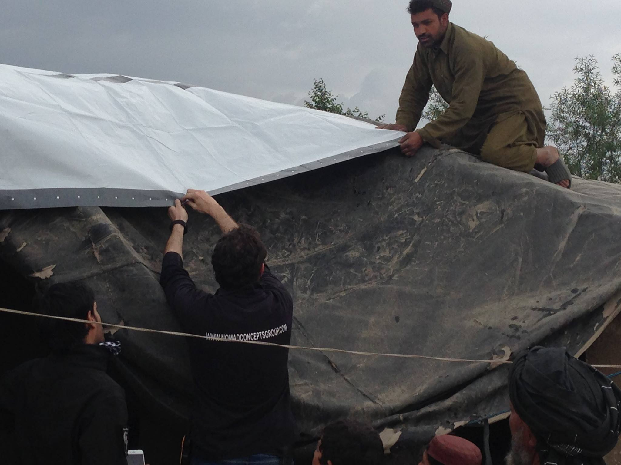 refugee using tarpaulins in home at Afghanistan 2016