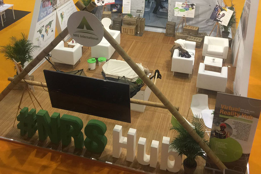 upper side view of NRS Relief booth at AidEx event 2016 Brussels Expo