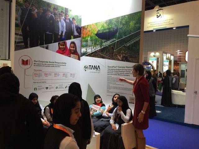 Weike explaining people about NRS Relief at DIHAD 2016