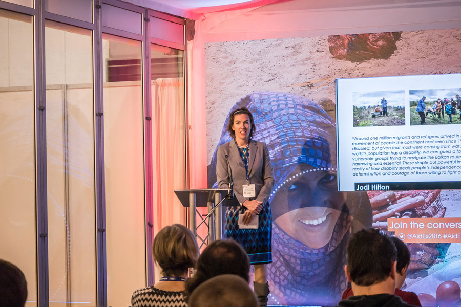 Wieke explaining about NRS International at AidEx event 2016 Brussels Expo