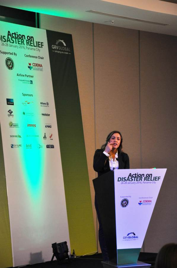 front left speech view of Disaster Relief Summit in Panama 2016