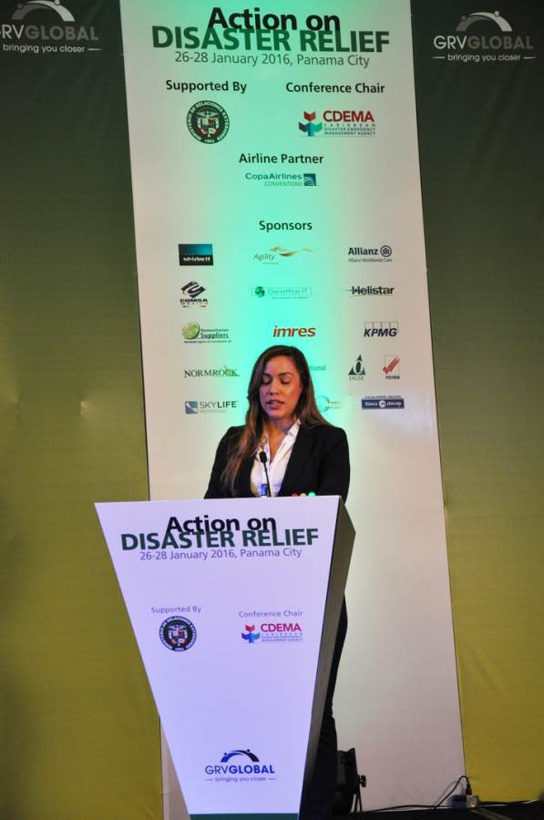 front right speech view of Disaster Relief Summit in Panama 2016
