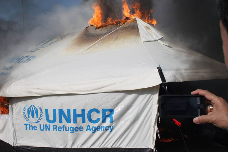 NRS Relief tent on fire retardant field test France in 2014
