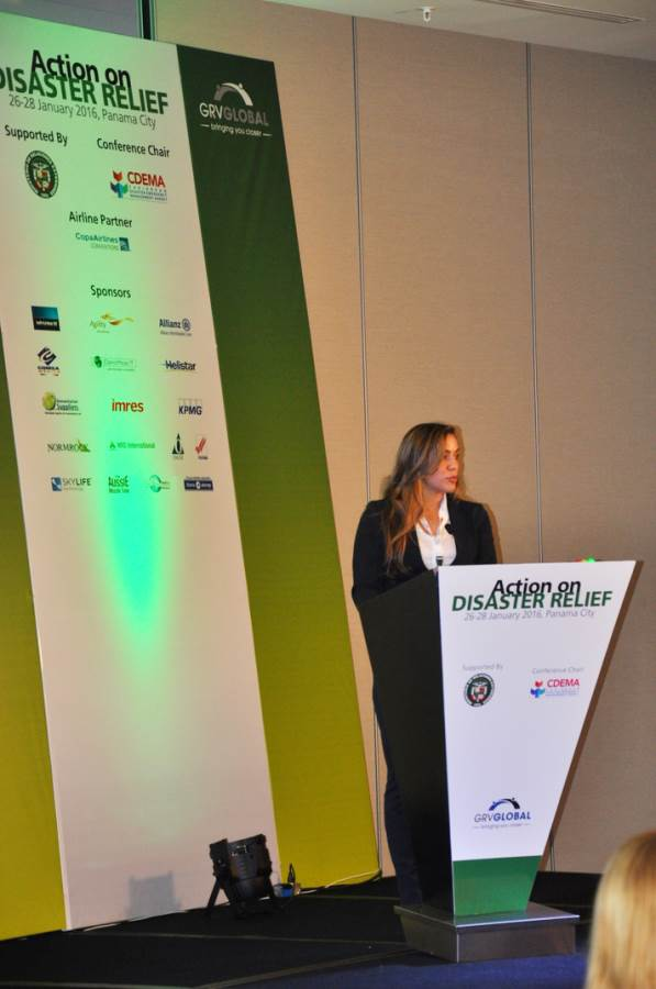 NRS representative giving speech at Disaster Relief Summit in Panama-2016