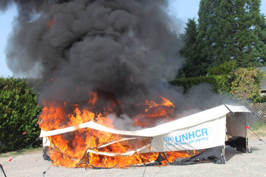 tent fire retardant field test France in 2014