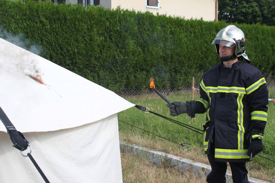 tent on fire retardant field test by NRS Relief at France in 2014